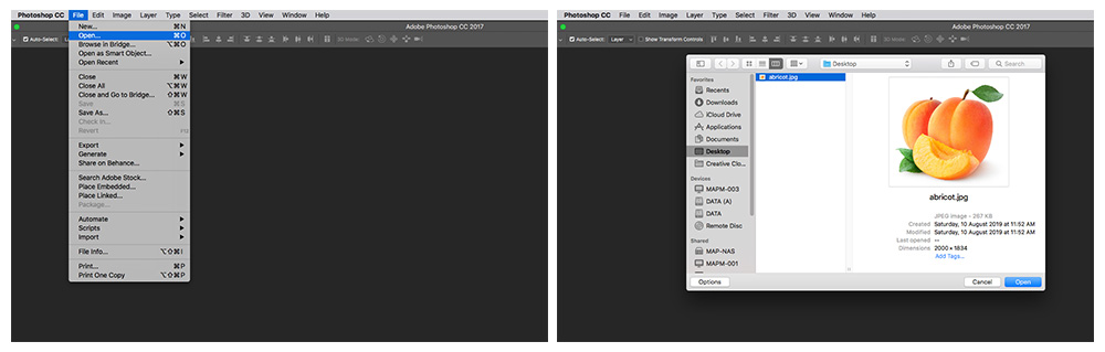 opening the image in Photoshop
