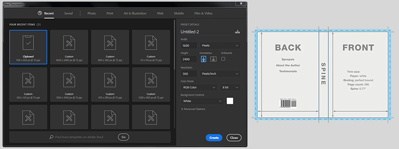 Photoshop document size setup