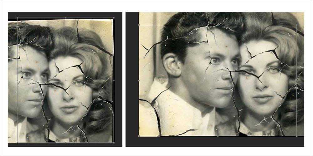 adjusting the edges in photo restoration process