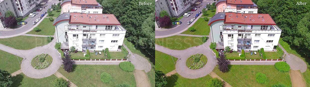 villa aerial view image editing