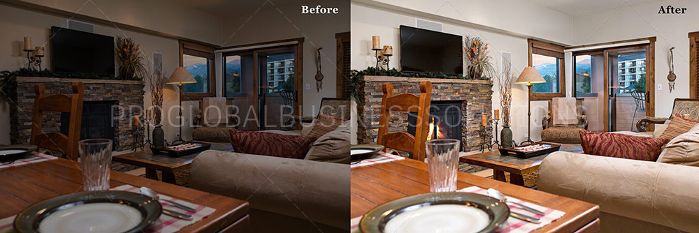 color cast removal with adding fire in fireplace