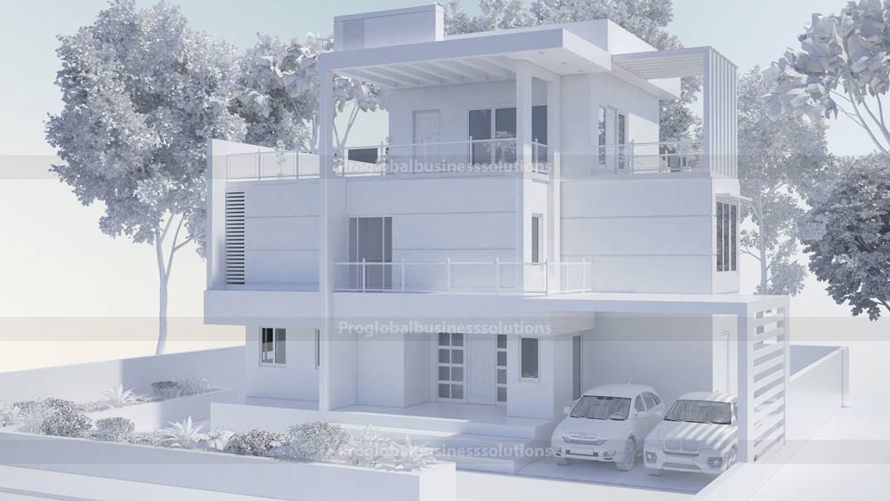 grayscale exterior 3d render