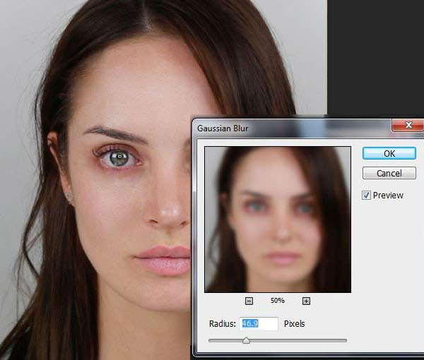 Frequency separation retouching
