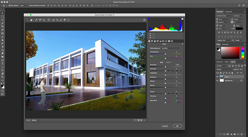 architecture saturated image in photoshop