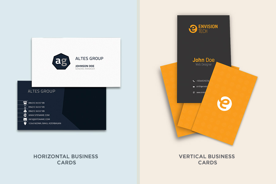 Horizontal vs Vertical Business Cards