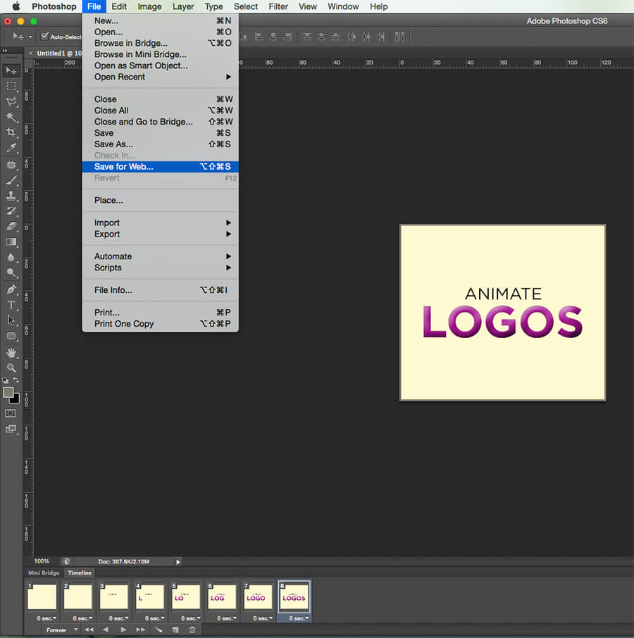 Save image as gif in Photoshop