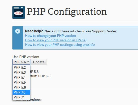 select the php version to update