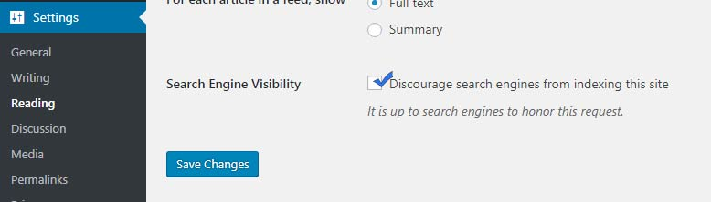 uncheck search engine visibility option
