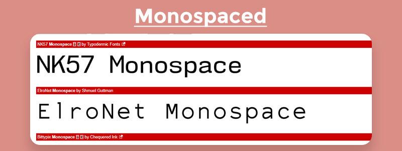 monospaced font