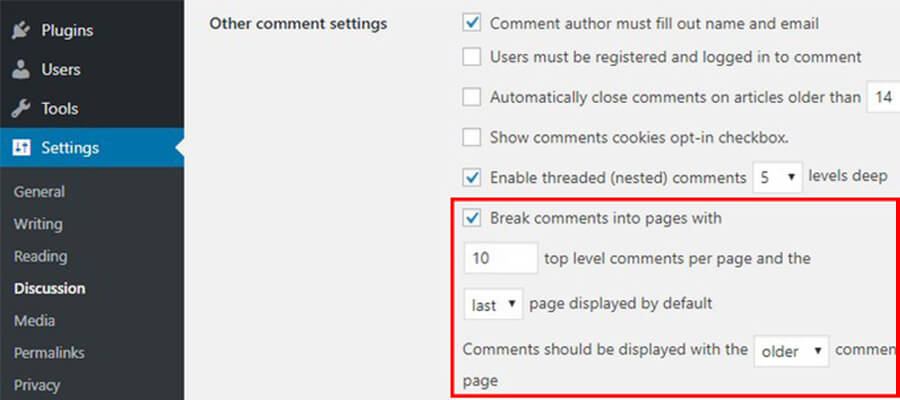 wordpress comments segregation