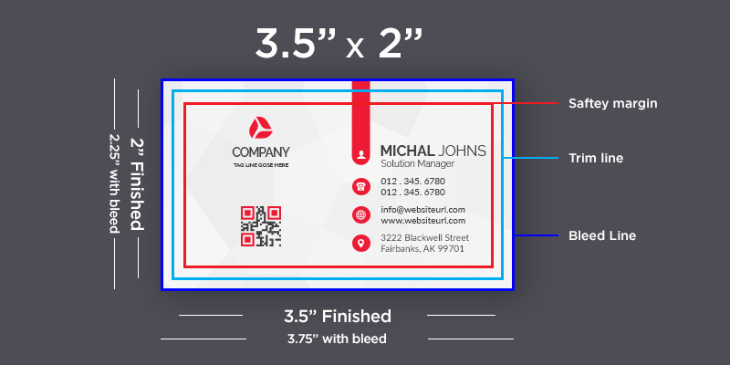 size of business card