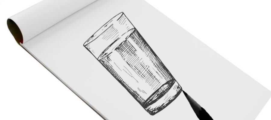 sketching glass with water