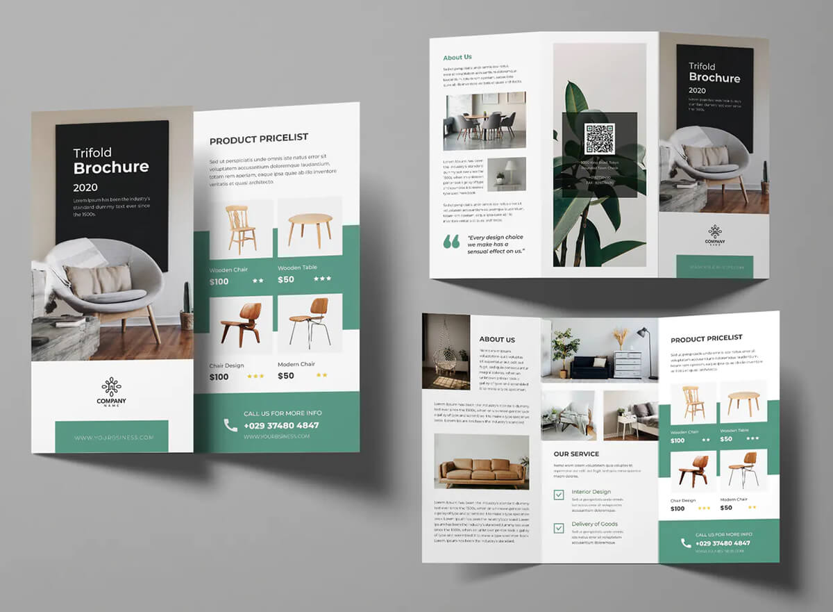 tri fold brochure of furniture company