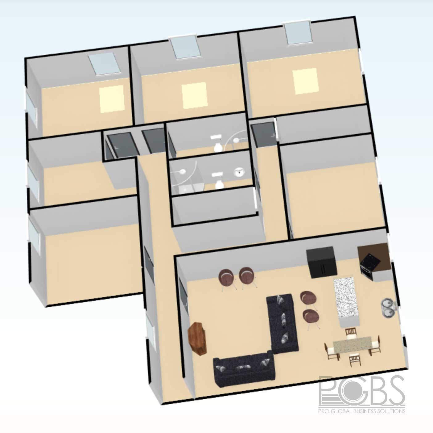 5 bedroom house designs isometric view